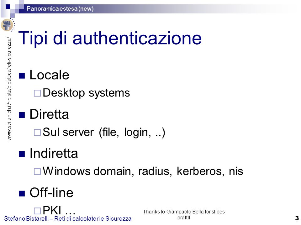 www.sci.unich.it/~bista/didattica/reti-sicurezza/ Panoramica estesa (new) 44 Stefano Bistarelli – Reti di calcolatori e Sicurezza Thanks to Giampaolo Bella for slides draft!.