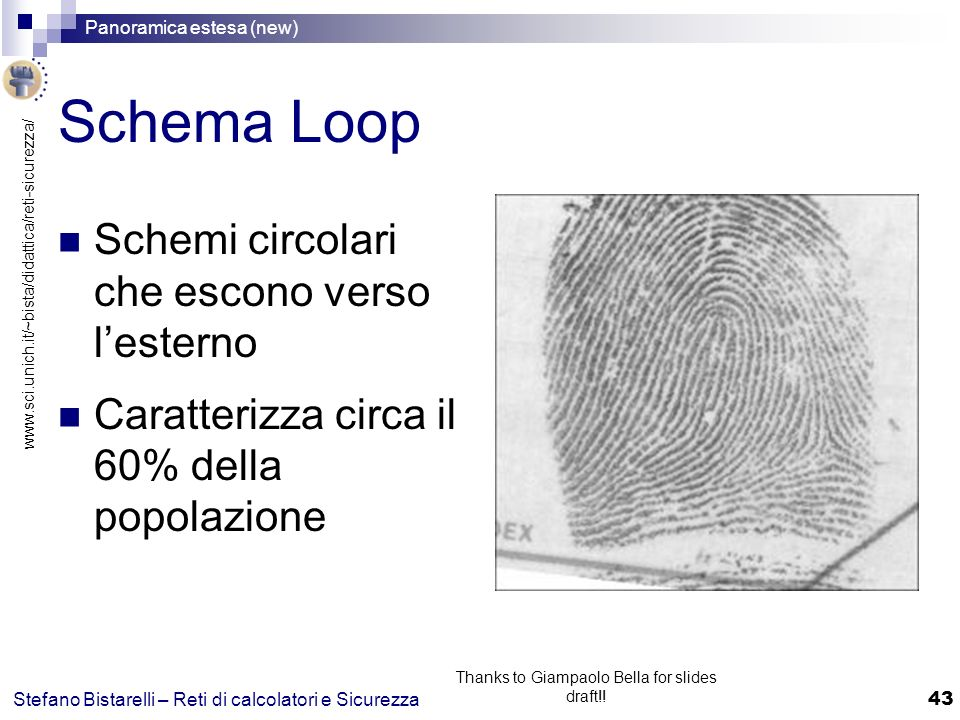 www.sci.unich.it/~bista/didattica/reti-sicurezza/ Panoramica estesa (new) 43 Stefano Bistarelli – Reti di calcolatori e Sicurezza Thanks to Giampaolo Bella for slides draft!.