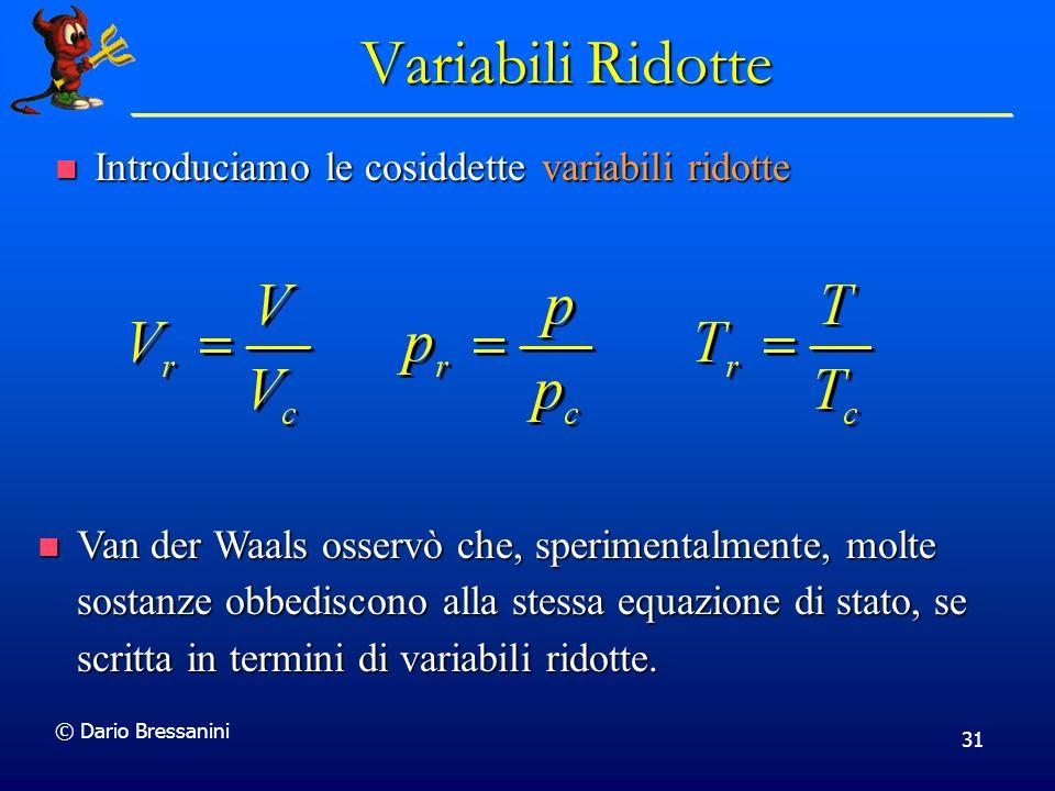 © Dario Bressanini 31 Variabili Ridotte Introduciamo le cosiddette variabili ridotte Introduciamo le cosiddette variabili ridotte Van der Waals osserv