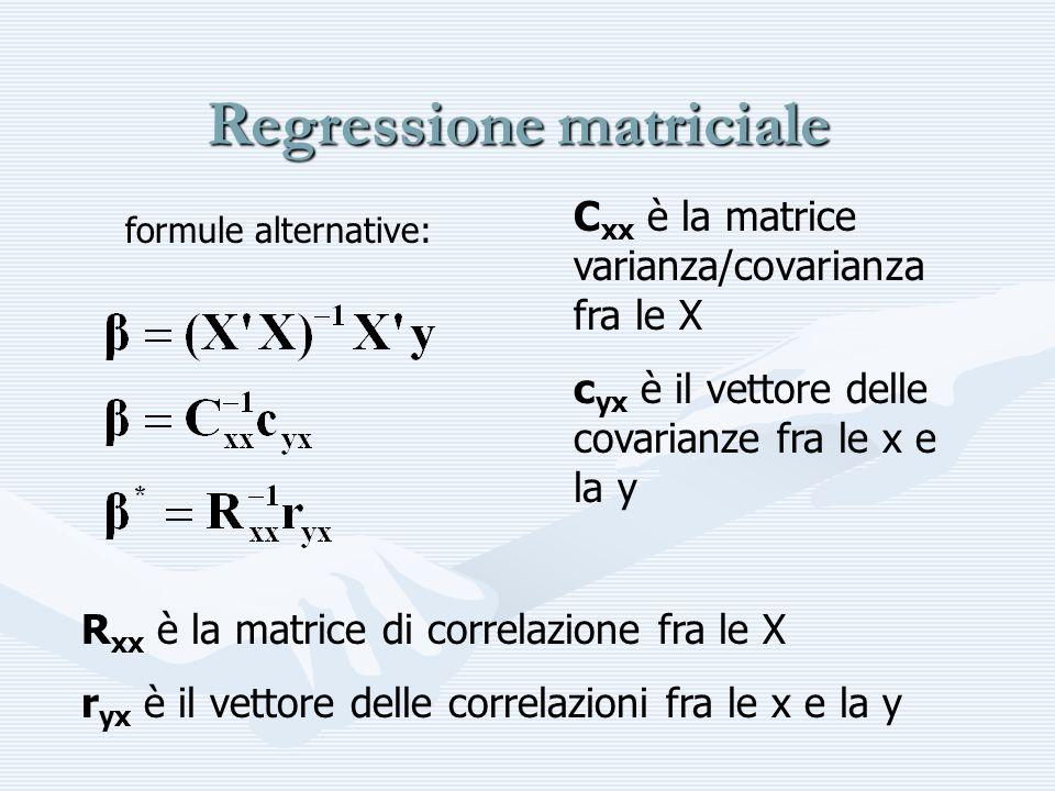 Regressione matriciale C xx è la matrice varianza/covarianza fra le X c yx è il vettore delle covarianze fra le x e la y R xx è la matrice di correlaz
