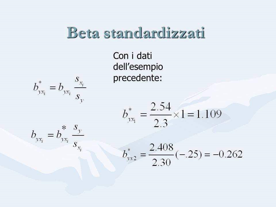 Beta standardizzati Con i dati dellesempio precedente: