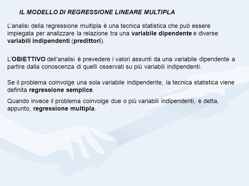IL MODELLO DI REGRESSIONE LINEARE MULTIPLA Lanalisi della regressione multipla è una tecnica statistica che può essere impiegata per analizzare la rel