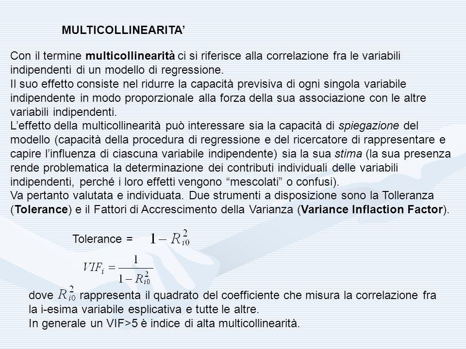 MULTICOLLINEARITA Con il termine multicollinearità ci si riferisce alla correlazione fra le variabili indipendenti di un modello di regressione. Il su
