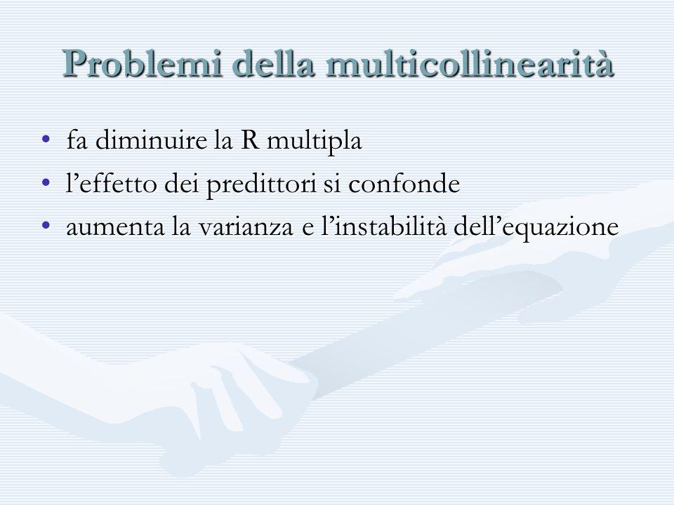 Problemi della multicollinearità fa diminuire la R multiplafa diminuire la R multipla leffetto dei predittori si confondeleffetto dei predittori si co