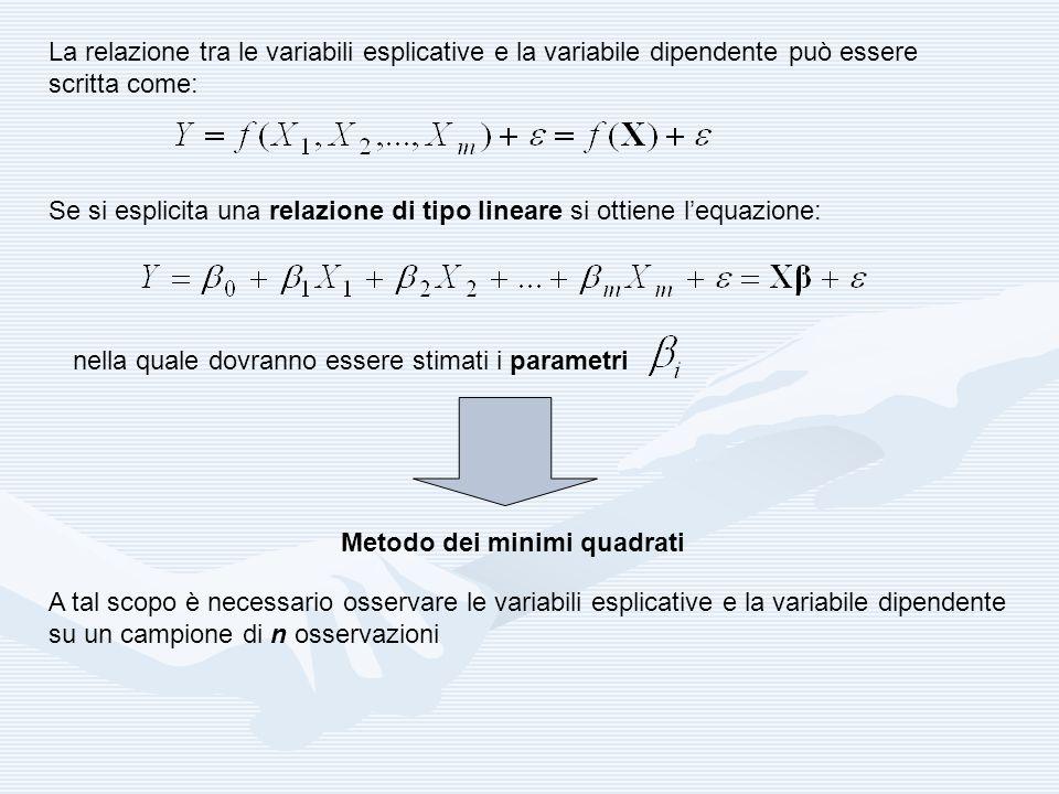 La relazione tra le variabili esplicative e la variabile dipendente può essere scritta come: Se si esplicita una relazione di tipo lineare si ottiene