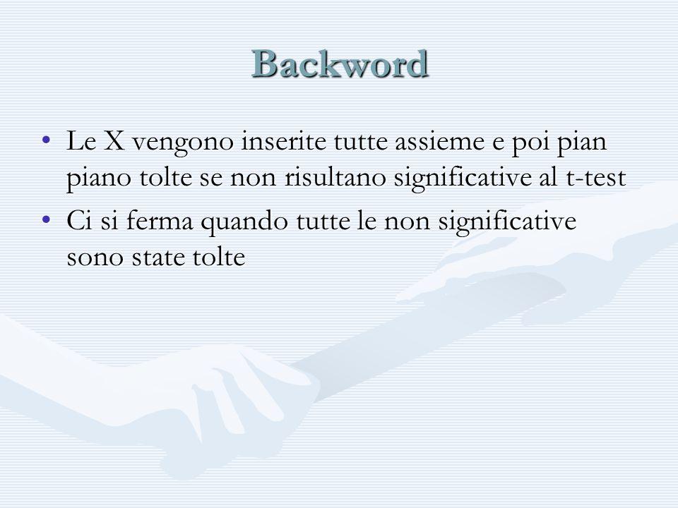 Backword Le X vengono inserite tutte assieme e poi pian piano tolte se non risultano significative al t-testLe X vengono inserite tutte assieme e poi