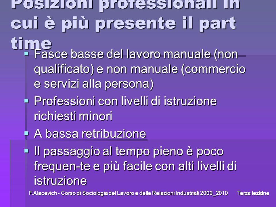 F.Alacevich - Corso di Sociologia del Lavoro e delle Relazioni Industriali 2009_2010 Terza lezione11 Posizioni professionali in cui è più presente il