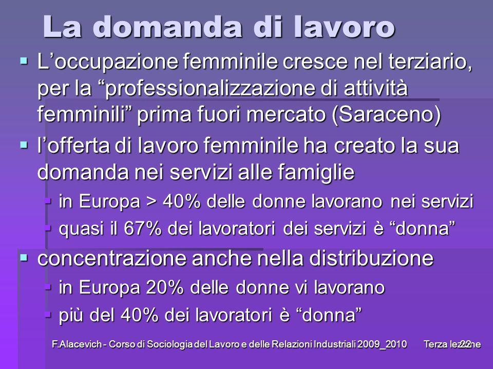 F.Alacevich - Corso di Sociologia del Lavoro e delle Relazioni Industriali 2009_2010 Terza lezione22 La domanda di lavoro Loccupazione femminile cresc