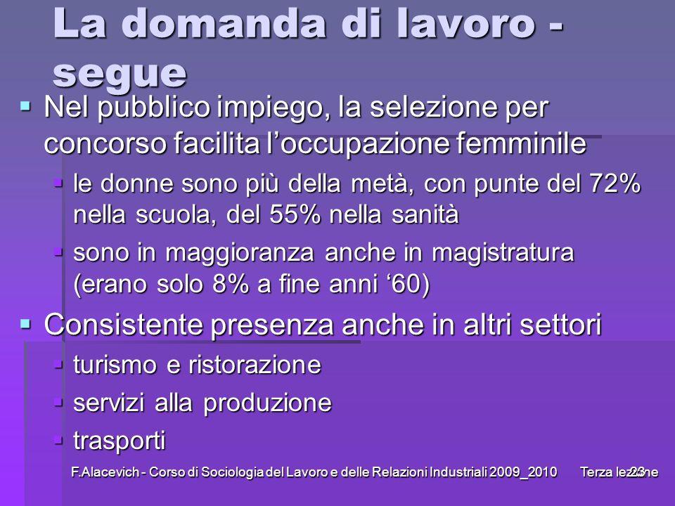 F.Alacevich - Corso di Sociologia del Lavoro e delle Relazioni Industriali 2009_2010 Terza lezione23 La domanda di lavoro - segue Nel pubblico impiego