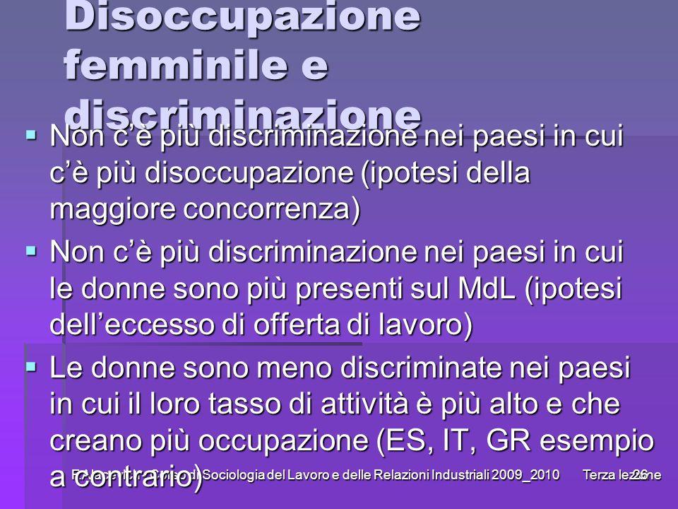 F.Alacevich - Corso di Sociologia del Lavoro e delle Relazioni Industriali 2009_2010 Terza lezione26 Disoccupazione femminile e discriminazione Non cè