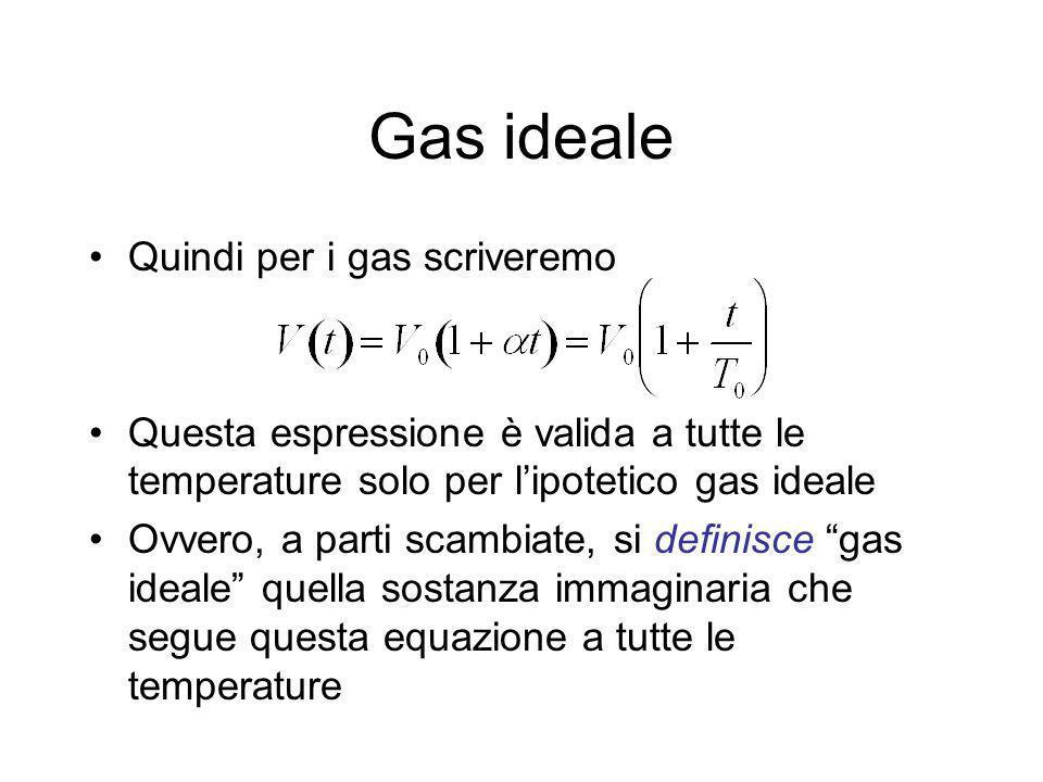 Gas ideale Quindi per i gas scriveremo Questa espressione è valida a tutte le temperature solo per lipotetico gas ideale Ovvero, a parti scambiate, si