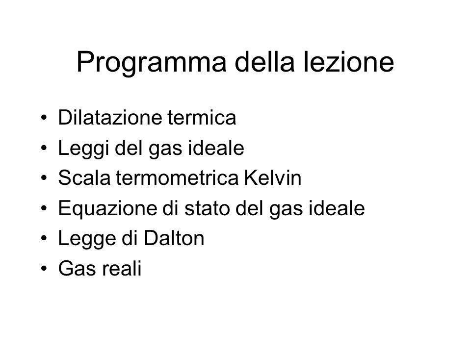 Programma della lezione Dilatazione termica Leggi del gas ideale Scala termometrica Kelvin Equazione di stato del gas ideale Legge di Dalton Gas reali