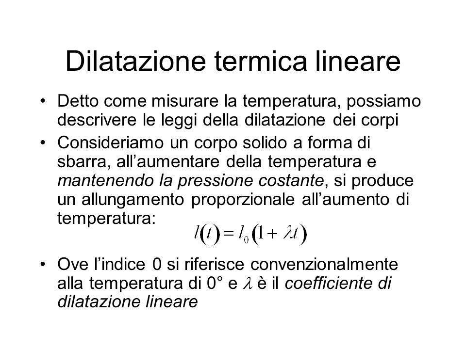 Coefficienti di dilatazione lineare x 10 -6 /°C piombo28.9 alluminio23.7 rame16.2 ferro12.3 platino9.0 vetro1.8-9.0 diamante1.3 quarzo0.6