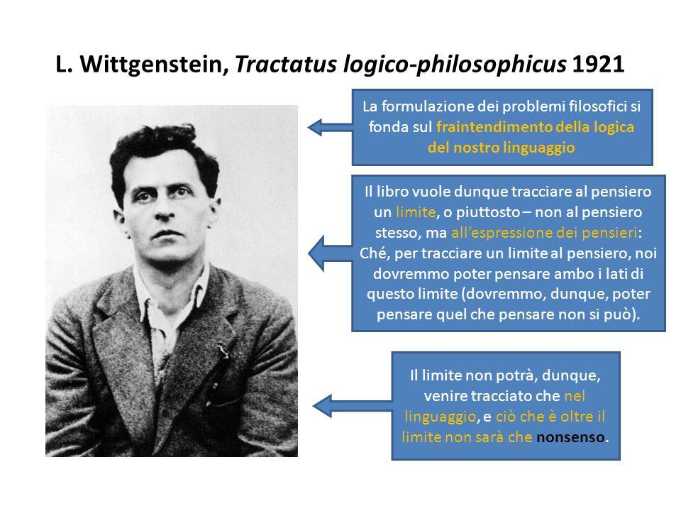 L. Wittgenstein, Tractatus logico-philosophicus 1921 La formulazione dei problemi filosofici si fonda sul fraintendimento della logica del nostro ling