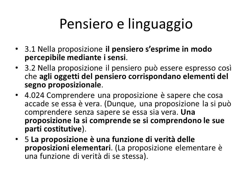 Pensiero e linguaggio 3.1 Nella proposizione il pensiero sesprime in modo percepibile mediante i sensi. 3.2 Nella proposizione il pensiero può essere