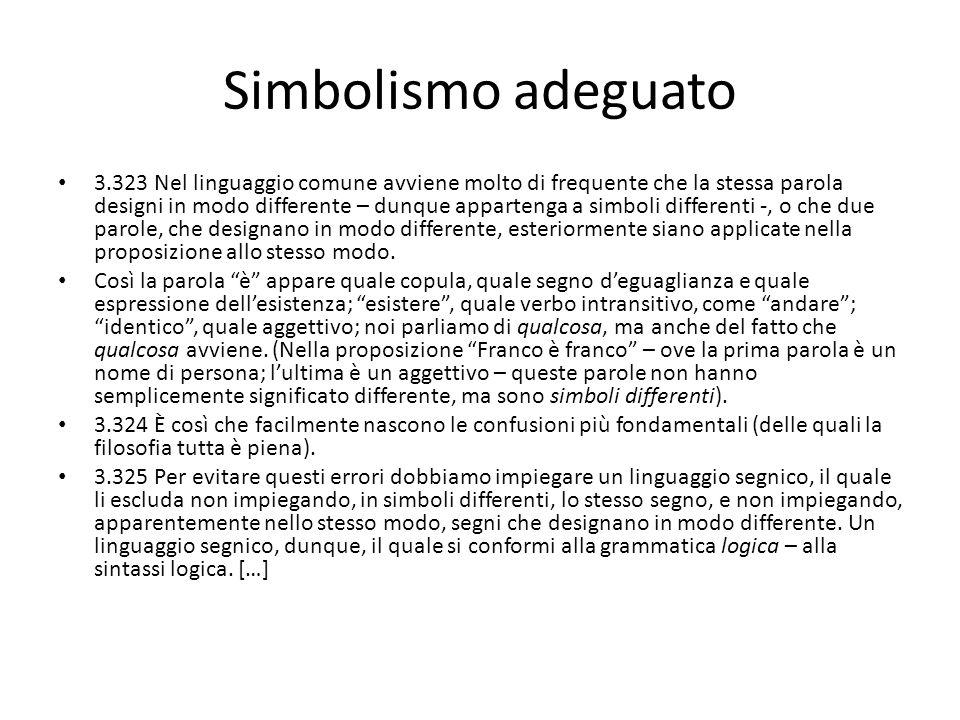 Simbolismo adeguato 3.323 Nel linguaggio comune avviene molto di frequente che la stessa parola designi in modo differente – dunque appartenga a simbo