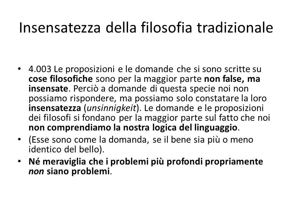 Insensatezza della filosofia tradizionale 4.003 Le proposizioni e le domande che si sono scritte su cose filosofiche sono per la maggior parte non fal