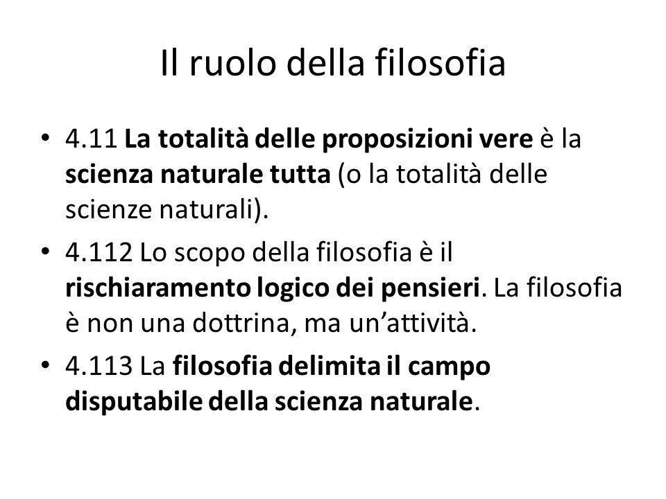Il ruolo della filosofia 4.11 La totalità delle proposizioni vere è la scienza naturale tutta (o la totalità delle scienze naturali). 4.112 Lo scopo d