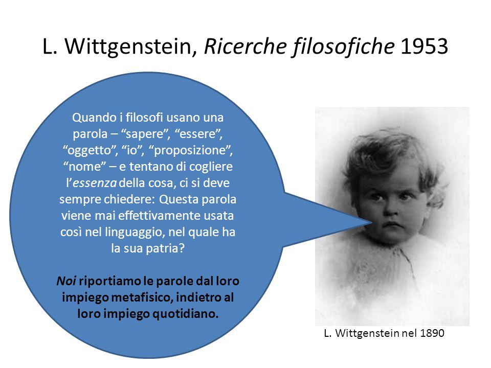 L. Wittgenstein, Ricerche filosofiche 1953 Quando i filosofi usano una parola – sapere, essere, oggetto, io, proposizione, nome – e tentano di coglier