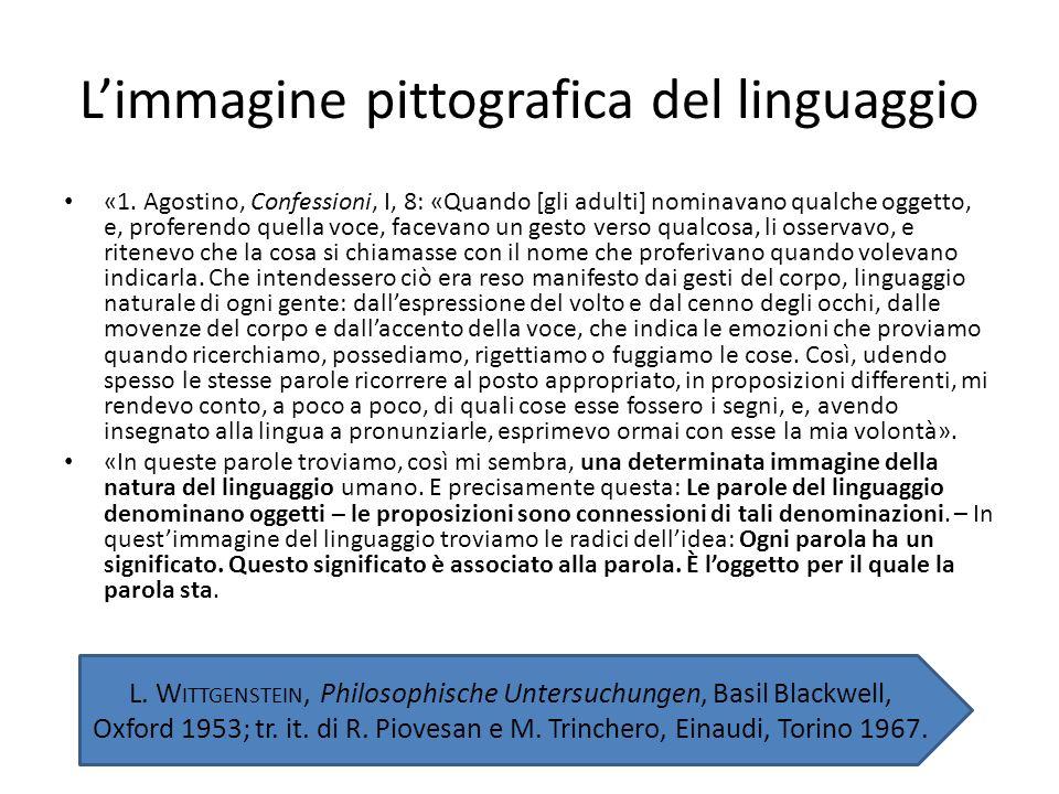 Limmagine pittografica del linguaggio «1. Agostino, Confessioni, I, 8: «Quando [gli adulti] nominavano qualche oggetto, e, proferendo quella voce, fac