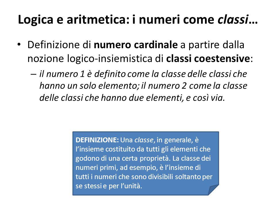 Logica e aritmetica: i numeri come classi… Definizione di numero cardinale a partire dalla nozione logico-insiemistica di classi coestensive: – il num