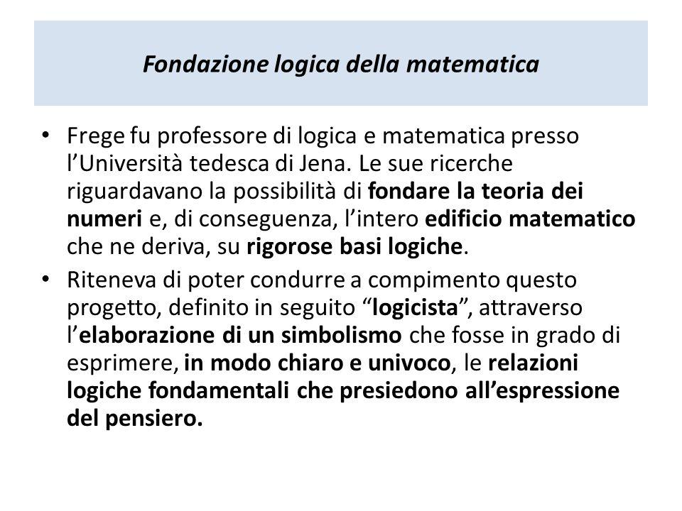 Fondazione logica della matematica Frege fu professore di logica e matematica presso lUniversità tedesca di Jena. Le sue ricerche riguardavano la poss