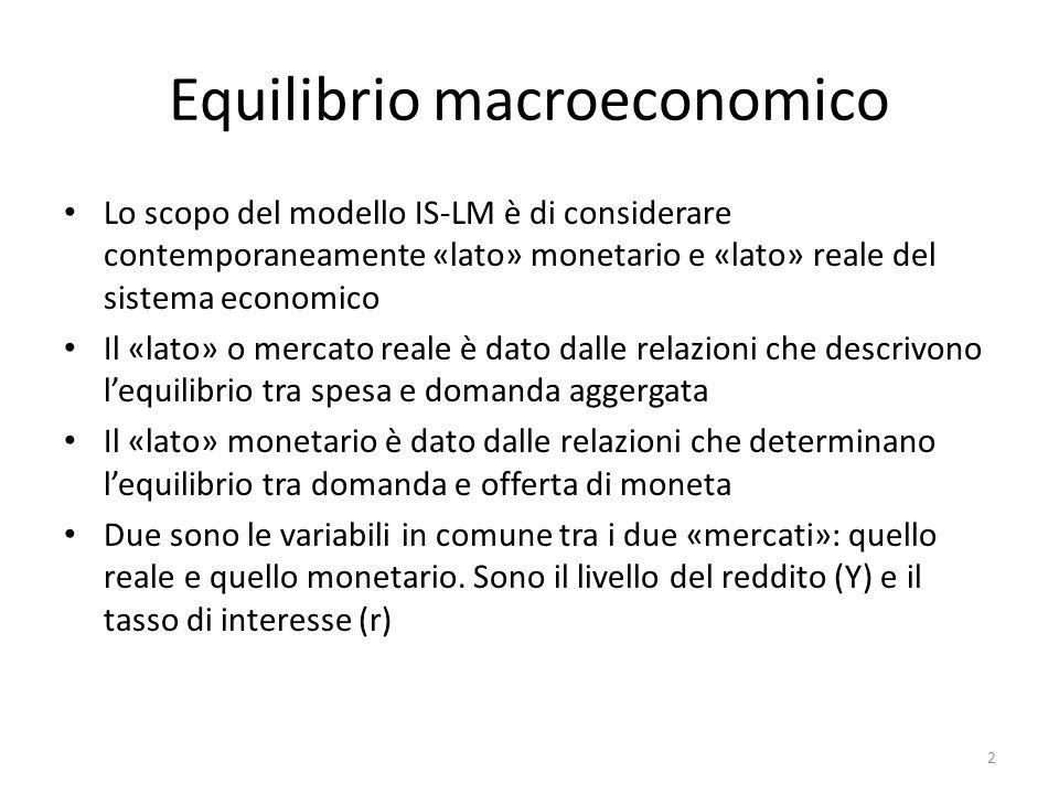 Equilibrio macroeconomico Lo scopo del modello IS-LM è di considerare contemporaneamente «lato» monetario e «lato» reale del sistema economico Il «lat