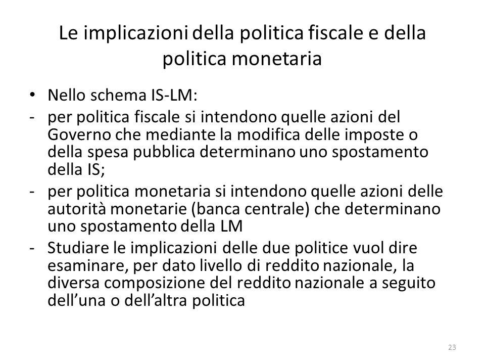 Le implicazioni della politica fiscale e della politica monetaria Nello schema IS-LM: -per politica fiscale si intendono quelle azioni del Governo che