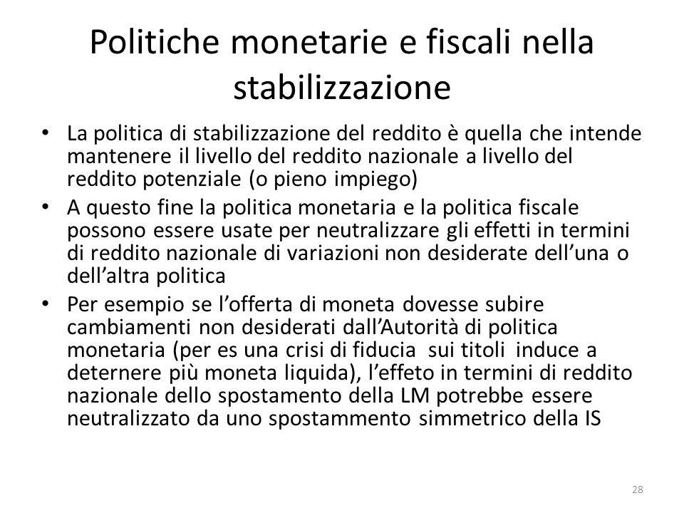 Politiche monetarie e fiscali nella stabilizzazione La politica di stabilizzazione del reddito è quella che intende mantenere il livello del reddito n