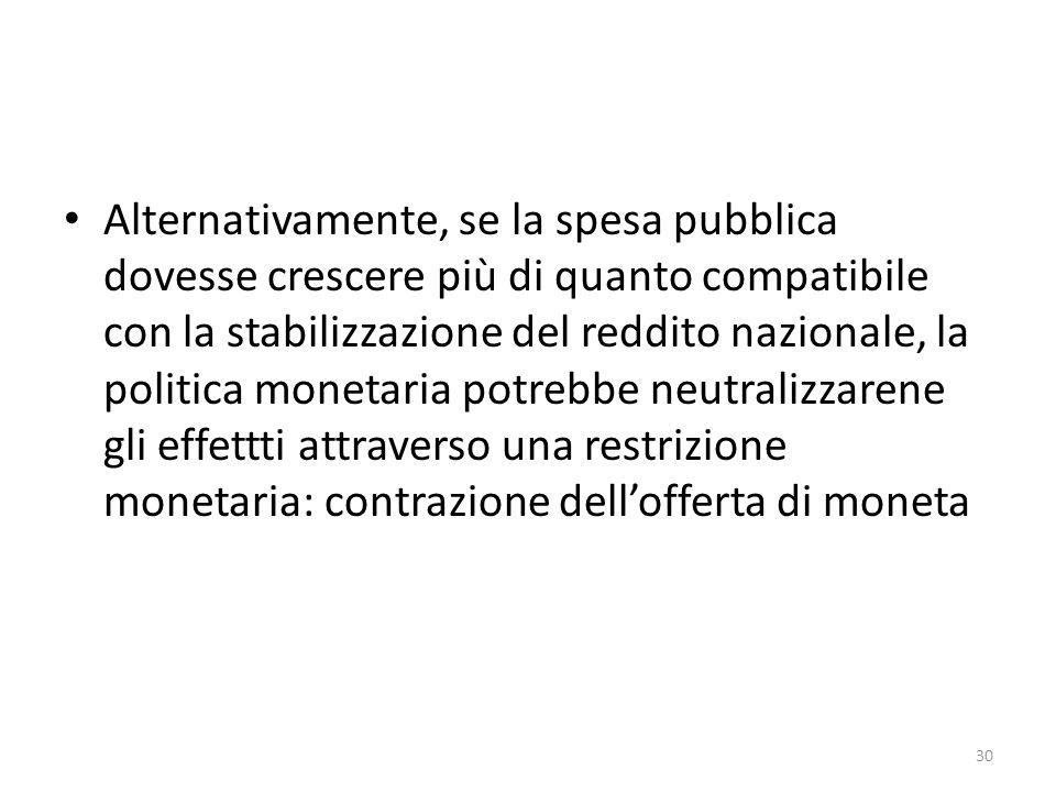 Alternativamente, se la spesa pubblica dovesse crescere più di quanto compatibile con la stabilizzazione del reddito nazionale, la politica monetaria