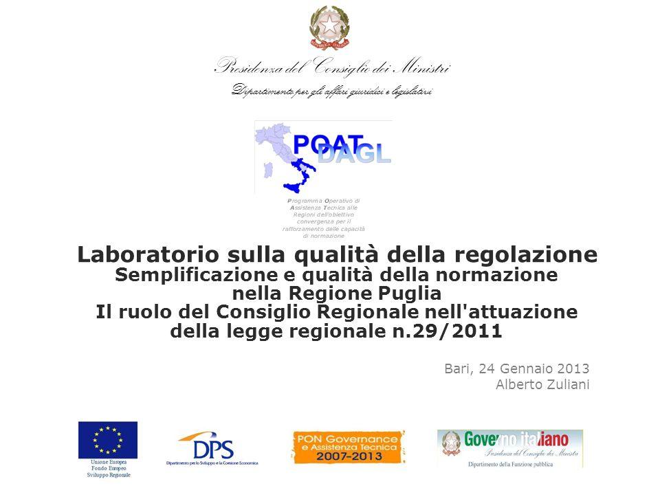 Presidenza del Consiglio dei Ministri Dipartimento per gli affari giuridici e legislativi Bari, 24 Gennaio 2013 Alberto Zuliani Laboratorio sulla qual