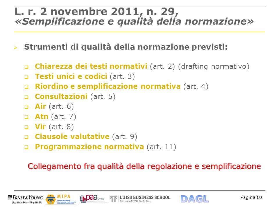 Pagina 10 L. r. 2 novembre 2011, n. 29, «Semplificazione e qualità della normazione» Strumenti di qualità della normazione previsti: Chiarezza dei tes