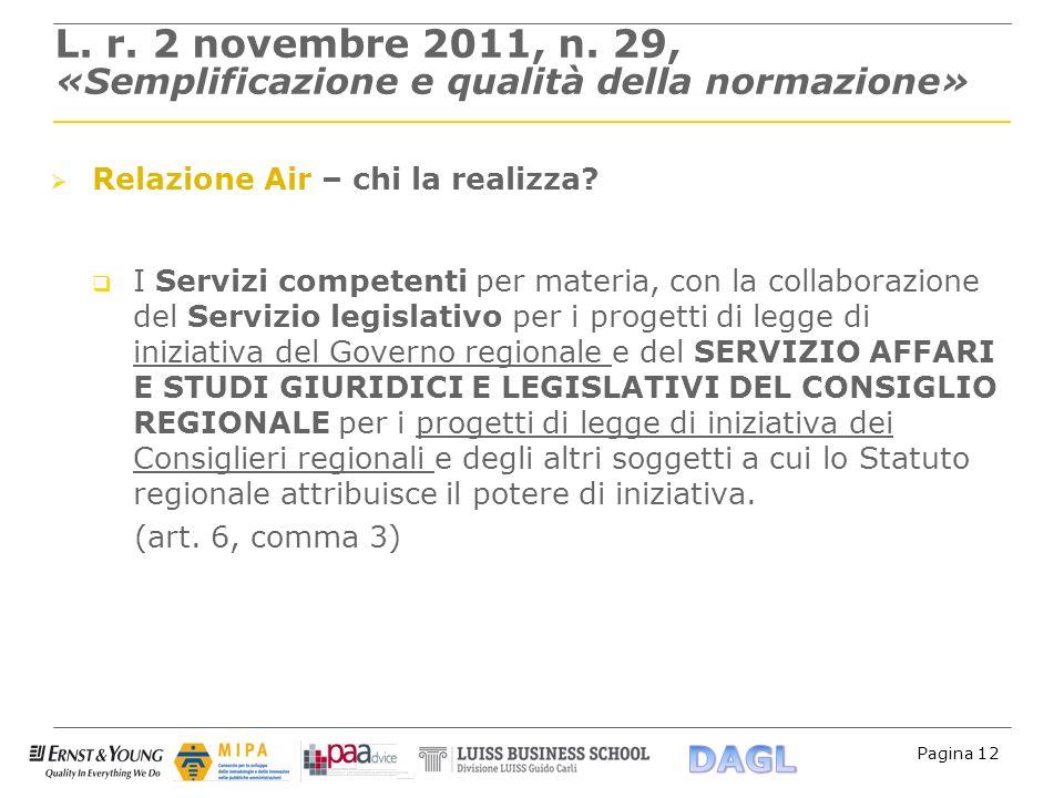 Pagina 12 L. r. 2 novembre 2011, n. 29, «Semplificazione e qualità della normazione» Relazione Air – chi la realizza? I Servizi competenti per materia