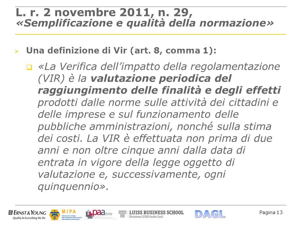 Pagina 13 L. r. 2 novembre 2011, n. 29, «Semplificazione e qualità della normazione» Una definizione di Vir (art. 8, comma 1): «La Verifica dellimpatt