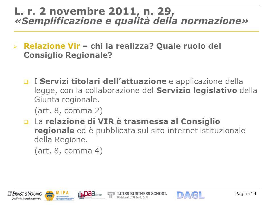 Pagina 14 L. r. 2 novembre 2011, n. 29, «Semplificazione e qualità della normazione» Relazione Vir – chi la realizza? Quale ruolo del Consiglio Region