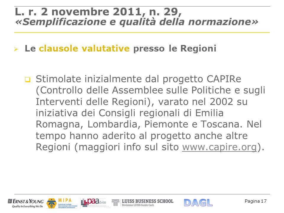 Pagina 17 L. r. 2 novembre 2011, n. 29, «Semplificazione e qualità della normazione» Le clausole valutative presso le Regioni Stimolate inizialmente d
