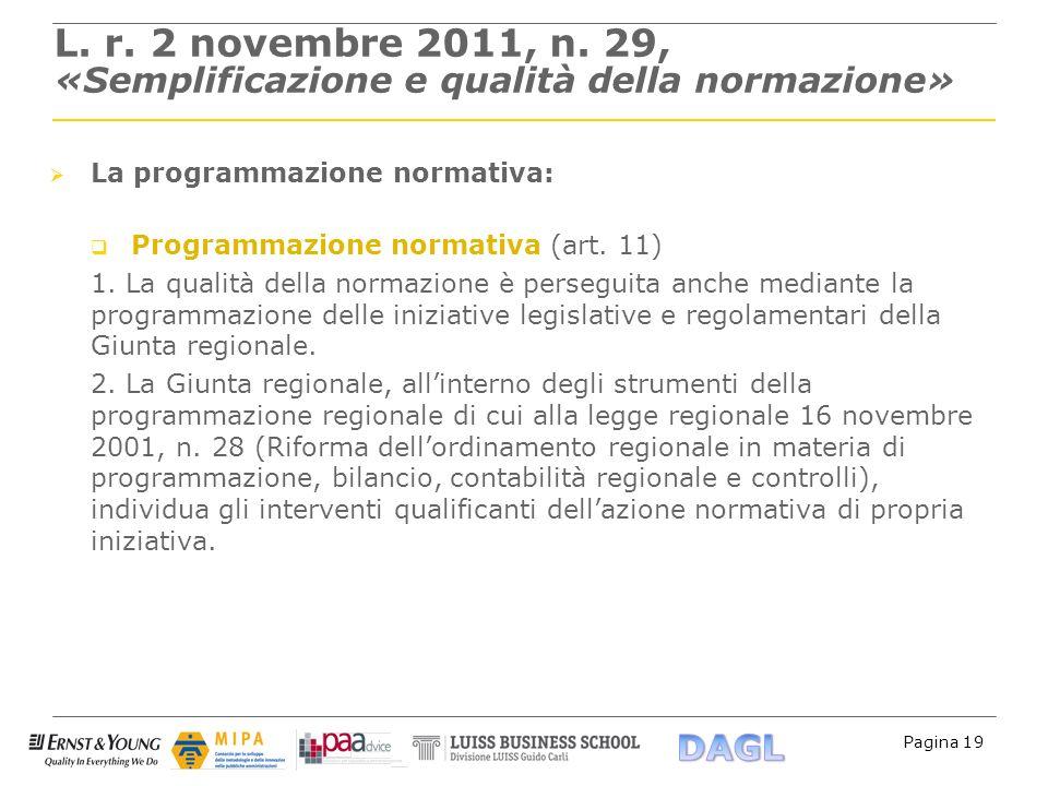 Pagina 19 L. r. 2 novembre 2011, n. 29, «Semplificazione e qualità della normazione» La programmazione normativa: Programmazione normativa (art. 11) 1