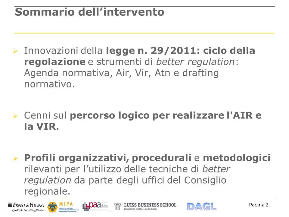 Pagina 2 Sommario dellintervento Innovazioni della legge n. 29/2011: ciclo della regolazione e strumenti di better regulation: Agenda normativa, Air,