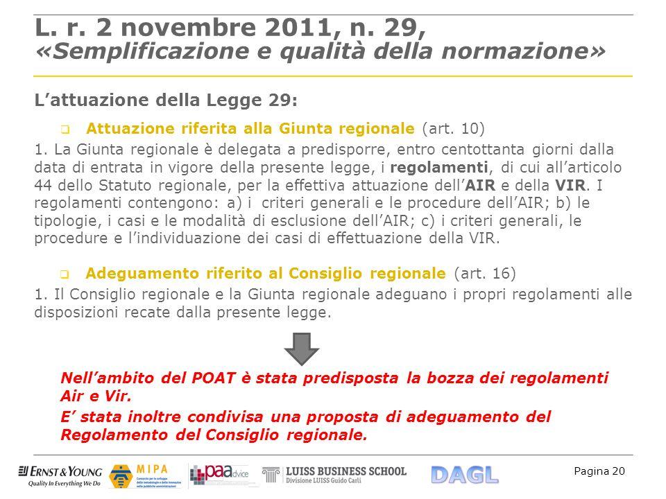 Pagina 20 L. r. 2 novembre 2011, n. 29, «Semplificazione e qualità della normazione» Lattuazione della Legge 29: Attuazione riferita alla Giunta regio
