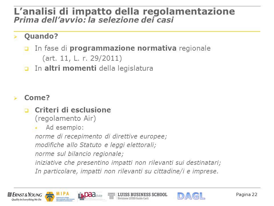 Pagina 22 Lanalisi di impatto della regolamentazione Prima dellavvio: la selezione dei casi Quando? In fase di programmazione normativa regionale (art