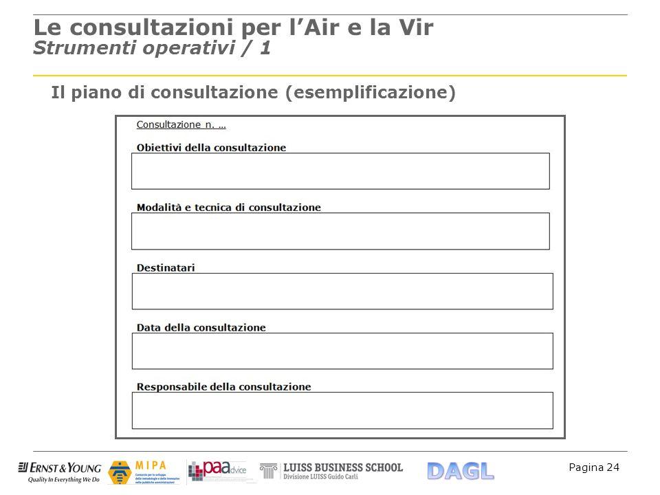 Pagina 24 Le consultazioni per lAir e la Vir Strumenti operativi / 1 Il piano di consultazione (esemplificazione)