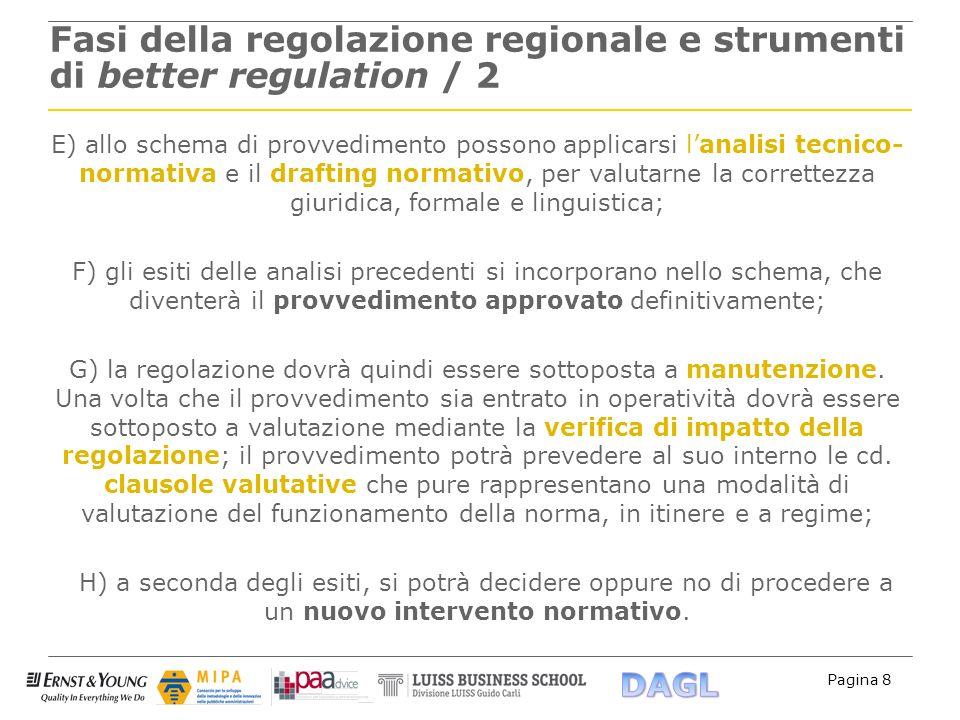 Pagina 8 Fasi della regolazione regionale e strumenti di better regulation / 2 E) allo schema di provvedimento possono applicarsi lanalisi tecnico- no