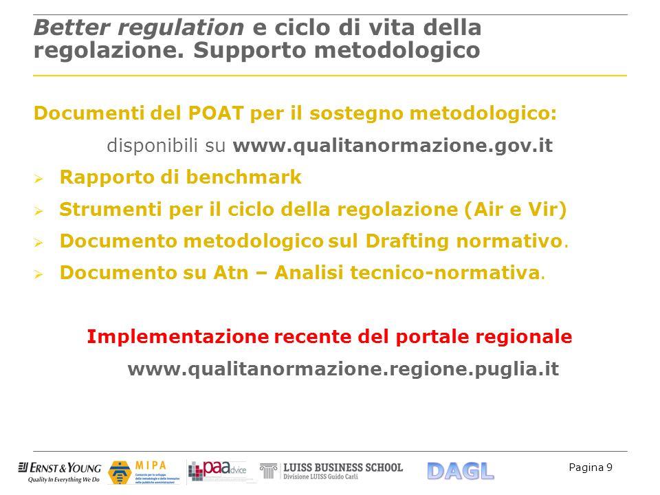 Pagina 9 Better regulation e ciclo di vita della regolazione. Supporto metodologico Documenti del POAT per il sostegno metodologico: disponibili su ww