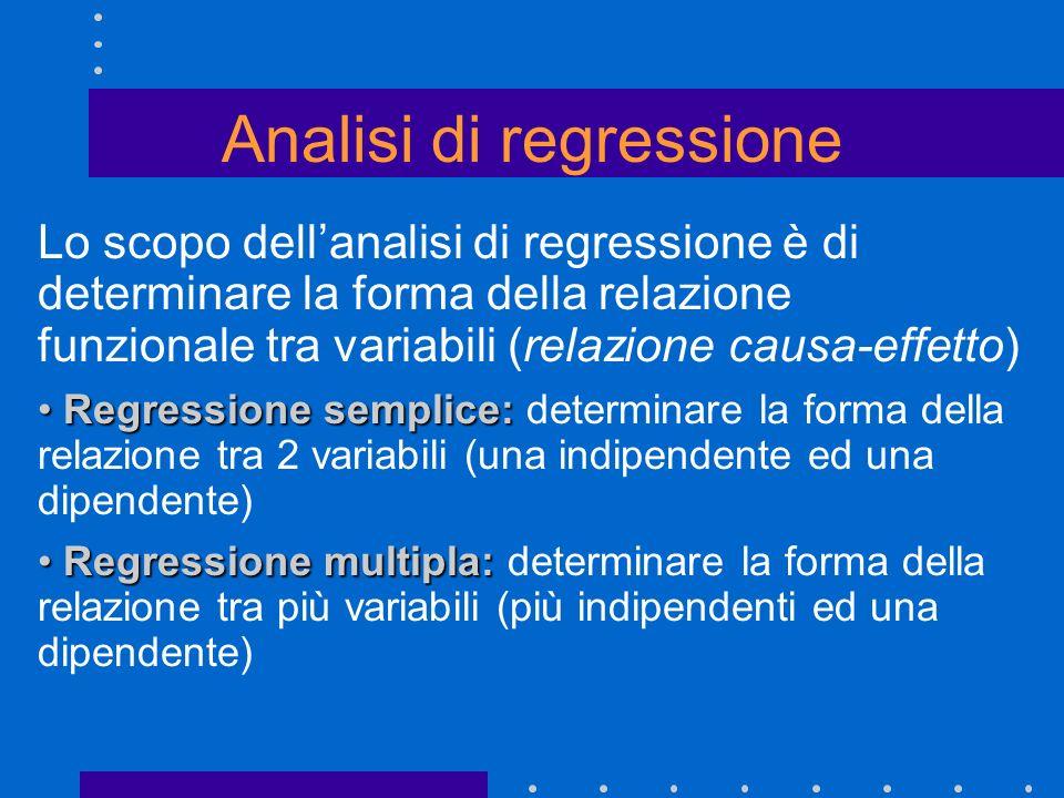 Lo scopo dellanalisi di regressione è di determinare la forma della relazione funzionale tra variabili (relazione causa-effetto) Regressione semplice: