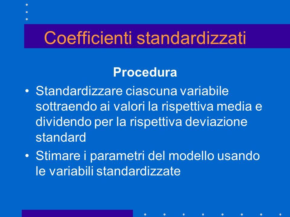 Coefficienti standardizzati Procedura Standardizzare ciascuna variabile sottraendo ai valori la rispettiva media e dividendo per la rispettiva deviazi