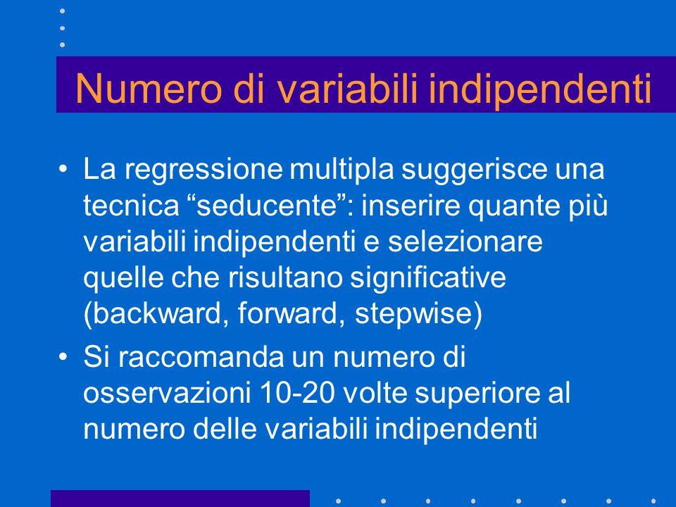 Numero di variabili indipendenti La regressione multipla suggerisce una tecnica seducente: inserire quante più variabili indipendenti e selezionare qu