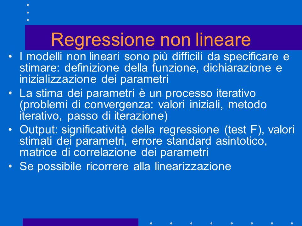 Regressione non lineare I modelli non lineari sono più difficili da specificare e stimare: definizione della funzione, dichiarazione e inizializzazion