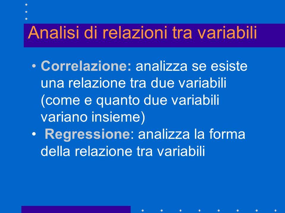 Analisi di relazioni tra variabili Correlazione: analizza se esiste una relazione tra due variabili (come e quanto due variabili variano insieme) Regr