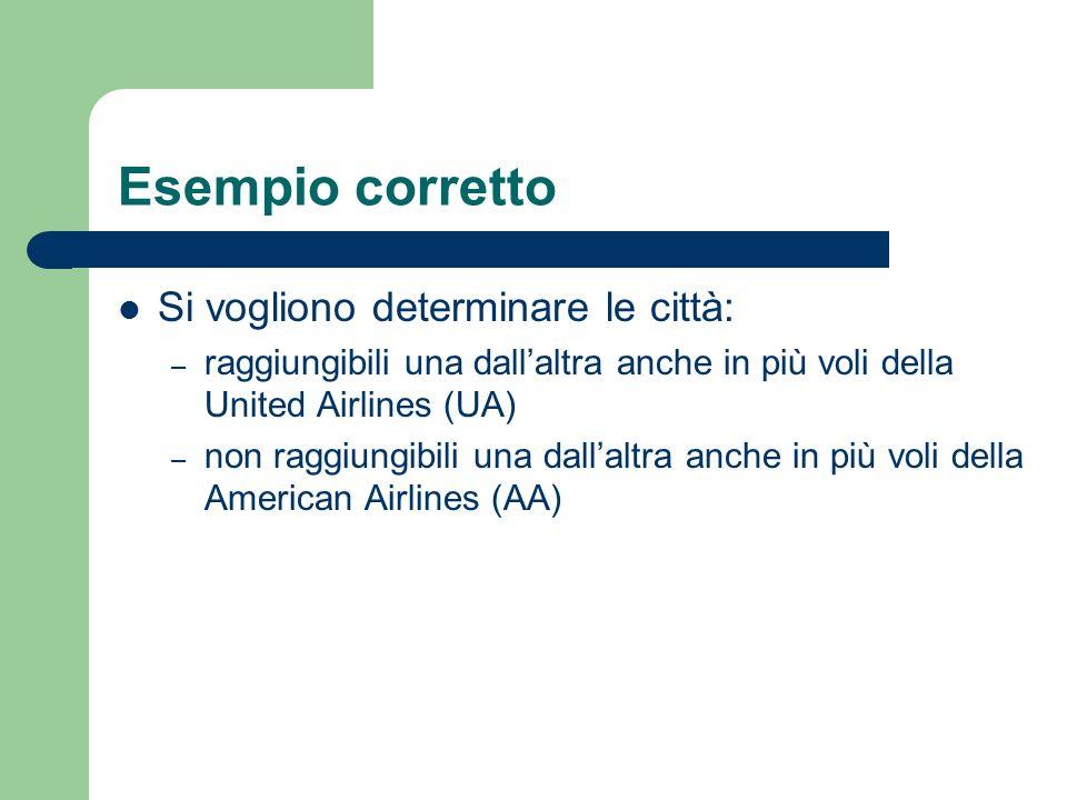 Esempio corretto Si vogliono determinare le città: – raggiungibili una dallaltra anche in più voli della United Airlines (UA) – non raggiungibili una dallaltra anche in più voli della American Airlines (AA)
