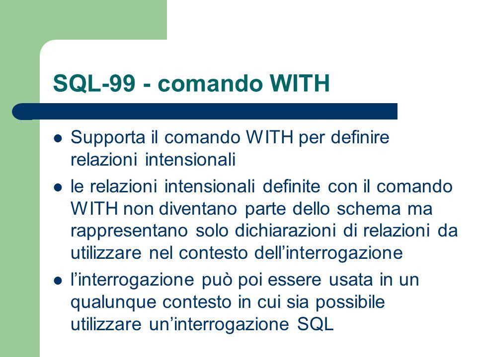 SQL-99 - comando WITH Supporta il comando WITH per definire relazioni intensionali le relazioni intensionali definite con il comando WITH non diventan